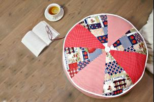 Cojín redondo de patchwork